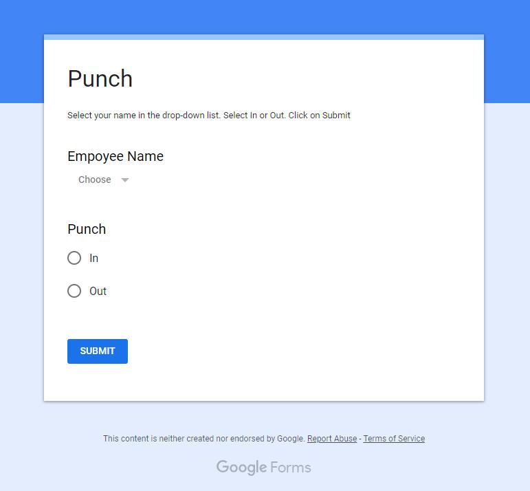Google Form Screenshot