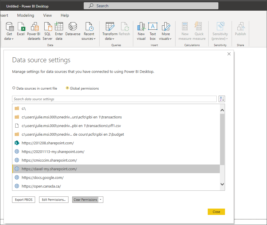Data Source Settings window in Power BI Desktop
